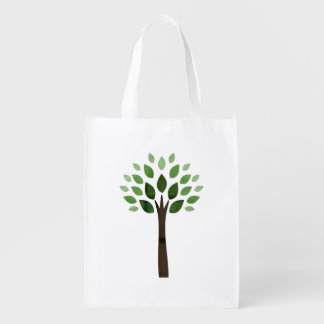 Modern Tree with Green Leaves Eco Friendly Design Reusable Grocery Bag