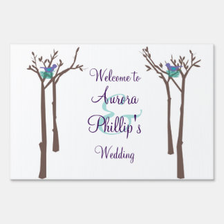 Modern Trees and Birds Yard Sign