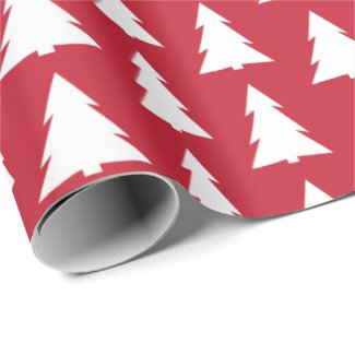 Modern Trees Red Geometric Pattern Wrapping Paper
