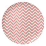 modern trend coral chevron dinner plates