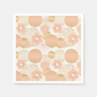 modern trends blush flower blooms paper napkin