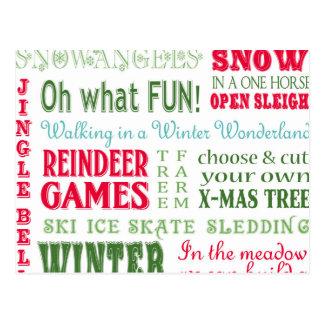Modern trends Christmas typography Postcard