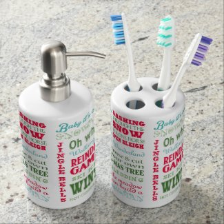 Christmas typography Soap Dispenser & Toothbrush Holder