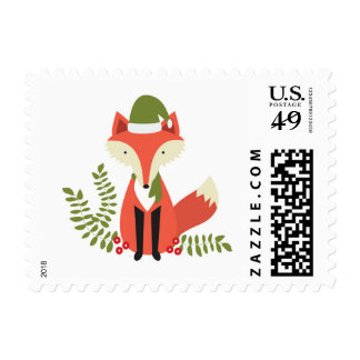 modern trends christmas woodland fox postage stamp