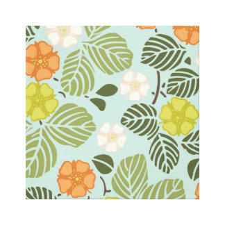 modern trends seafoam floral gallery wrapped canvas