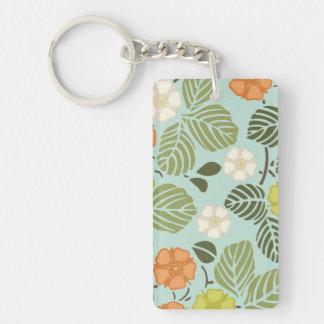 modern trends seafoam floral keychain