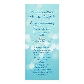 Modern Trendy Aqua Blue Wedding Program Template Full Color Rack Card