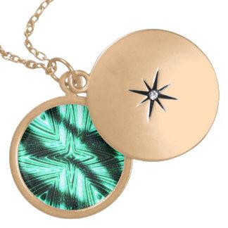 Modern trendy art round locket necklace
