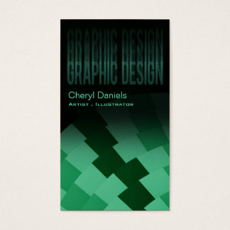 Modern Trendy Artistic Graphic Designer emerald Business Card