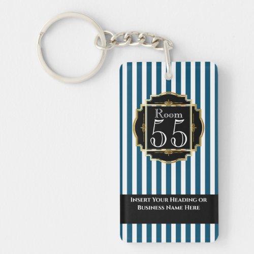 Modern trendy black blue gold stripes chic DIY Keychain