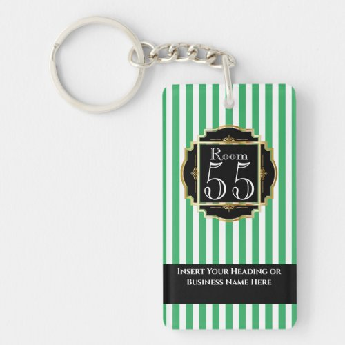 Modern trendy black green gold stripes chic DIY Keychain