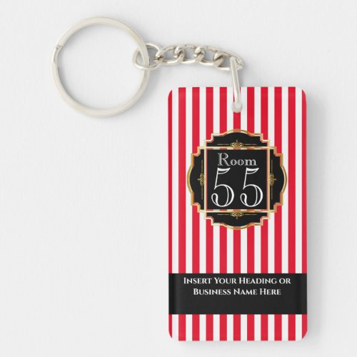 Modern trendy black red white gold stripes chic keychain