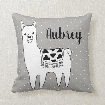 Aztec Themed Modern Trendy Black & White Aztec Llama Throw Pillow