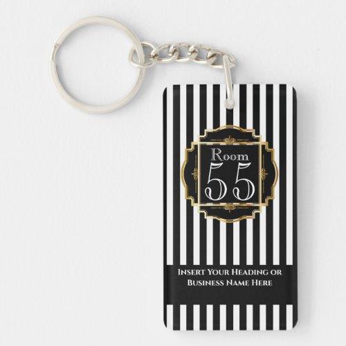 Modern trendy black white gold stripes chic DIY Keychain