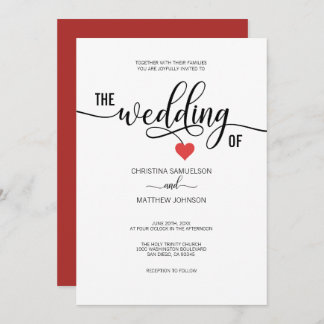 Modern Trendy Black White & Red Heart Wedding Invitation