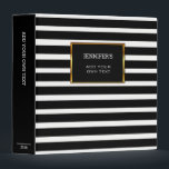 "Modern trendy black white stripes personal 3 ring binder<br><div class=""desc"">Modern black and white stripes personal binder.