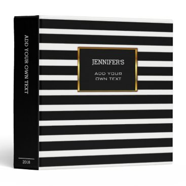 Modern trendy black white stripes personal 3 ring binder
