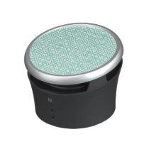 Modern Trendy Blue White Geometric Pattern Bluetooth Speaker