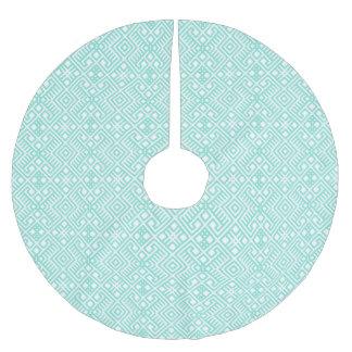 Modern Trendy Blue White Geometric Pattern Brushed Polyester Tree Skirt