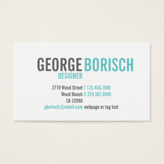 Modern Trendy Blue White Grey Business Card