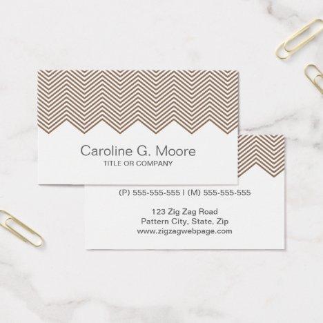 Modern trendy brown chevron zigzag pattern stylish business card