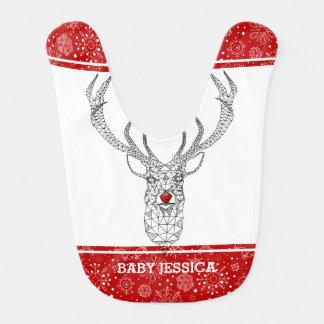 Modern Trendy Christmas Red Nose Deer Bib