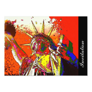 modern trendy colorful statue of liberty card