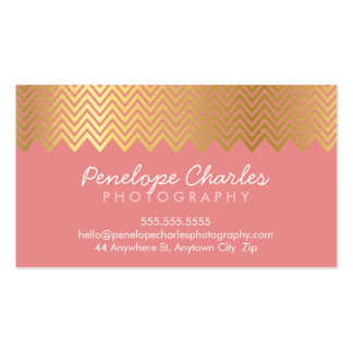 MODERN trendy cool gold foil chevron pattern coral Double-Sided Standard Business Cards (Pack Of 100)