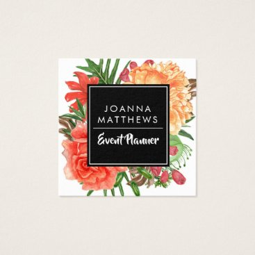 Professional Business Modern Trendy Coral Floral Square Business Cards