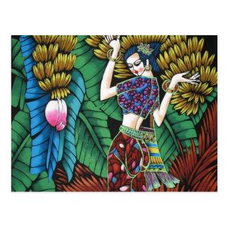 Modern trendy decorative abstract art postcard