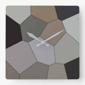 Modern Trendy Earth Toned Pattern Square Wall Clock