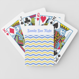 Modern, trendy, elegant blue and yellow chevron bicycle playing cards