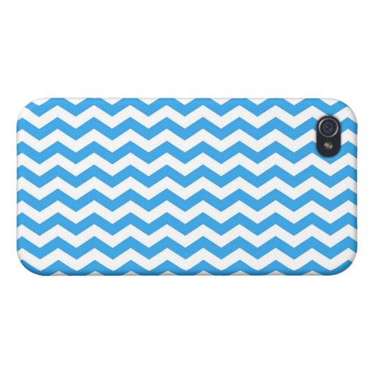 modern, trendy, elegant bright blue chevron zigzag cover for iPhone 4