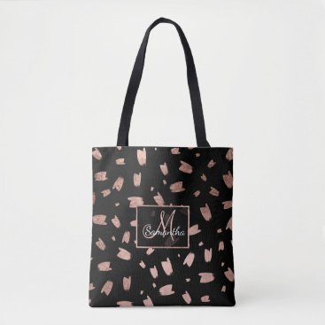 girly_trend Modern trendy faux rose gold brushstrokes monogram tote bag