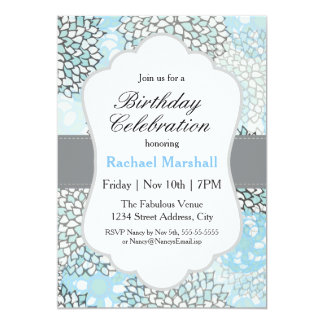 Modern Trendy Floral Birthday Party 5x7 Paper Invitation Card