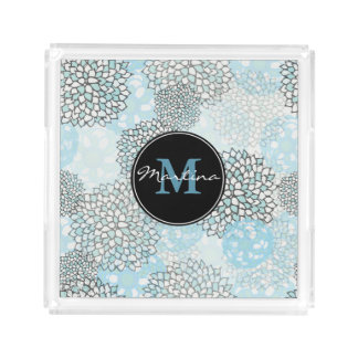 Modern Trendy Floral Pattern Personalized Acrylic Tray