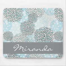 Modern Trendy Floral Pattern Personalized Mouse Pad at Zazzle
