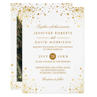 Modern Trendy Gold Confetti Dots Wedding Photo Card
