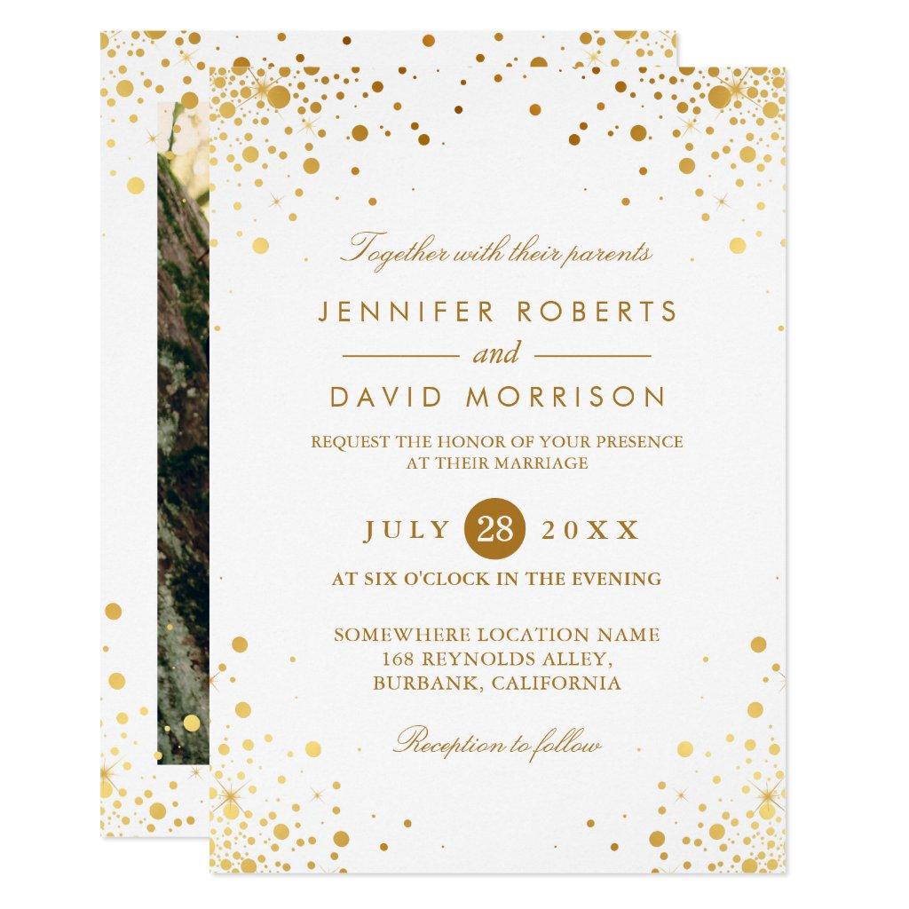 Modern Trendy Gold Confetti Dots Wedding Photo Invitation