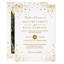 Modern Trendy Gold Confetti Dots Wedding Photo Invitation