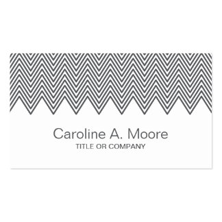 Modern trendy gray chevron zigzag pattern stylish Double-Sided standard business cards (Pack of 100)