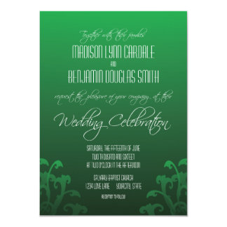 "Modern Trendy Green Flourish Wedding Invitations 4.5"" X 6.25"" Invitation Card"