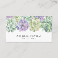 Modern Trendy Green Purple Watercolor Succulent Business Card