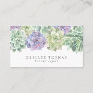 Modern Trendy Green Purple Watercolor Succulent Business Card