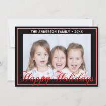 Modern Trendy Happy Holidays Red Black | PHOTO Holiday Card