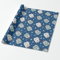 modern trendy hipster cute owls illustration blue wrapping paper
