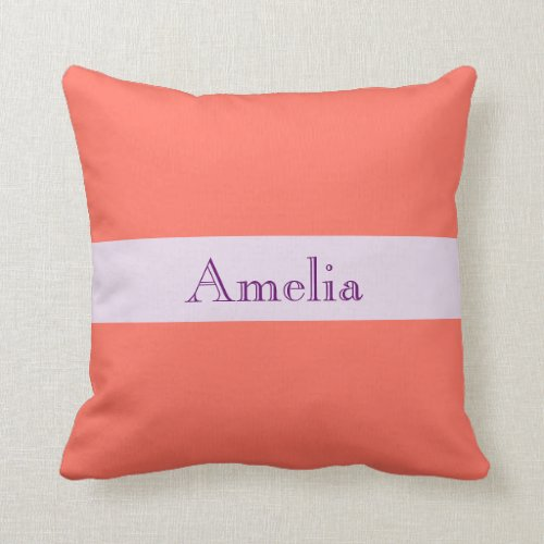 Personalized Modern,trendy, living coral,template,,2019 pantone throw pillow