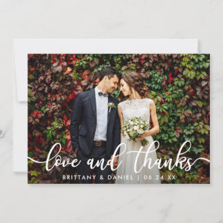 Modern Trendy Love and Thanks | Wedding Photo Card