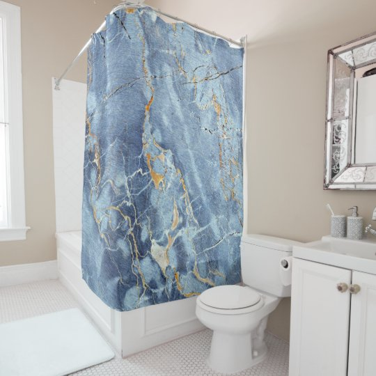Modern Trendy Marble Pattern In Teal Blue Gold Shower Curtain