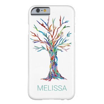 Modern Trendy Name Colorful Tree Barely There iPhone 6 Case